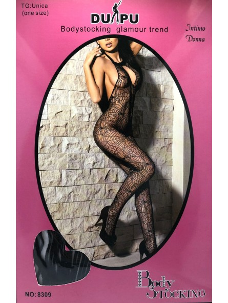 Catsuit Bodystocking Nero-Tela di Ragno