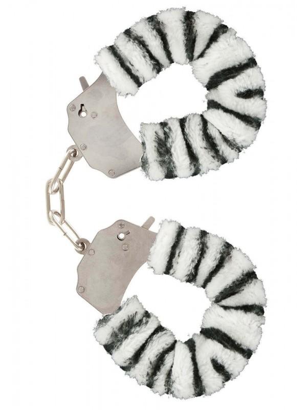Manette in peluche color zebra,per giochi erotici
