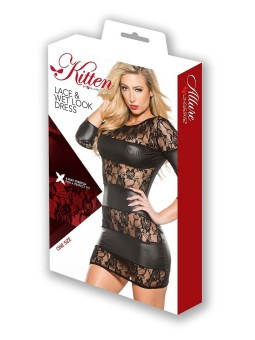 LACE SLEEVE DRESS & WET LOOK BANDS
